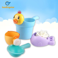 LeadingStar 4pcs Beach Toys Set Kids Bath Toys Spoon Kettle Duck Bailer Shark Waterwheel Color Random