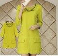 С Ожерелье Бесплатно! 2016 Новая Коллекция Весна Дизайнер Женщины Макси Красивые Платья Lemon Mini Dress Черный Зеленый Красный Бальные Платья NS213