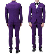 Customize Purple Men 3 Piece Suit Wedding Tuxedos Groom Tuxedos With Notch Lapel One Button Center Vent Men Blazer notch lapel floral print back vent coat
