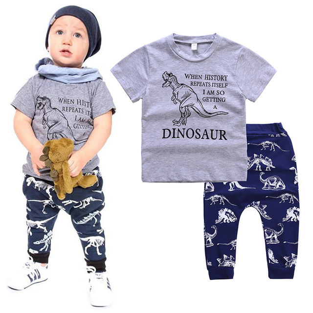 41ebc400456 Toddler Boys Clothing Set Summer Cotton Kids Short Sleeve Dinosaur Letter T- shirts+Animal Print Pants 2Pcs Children Clothes Suit