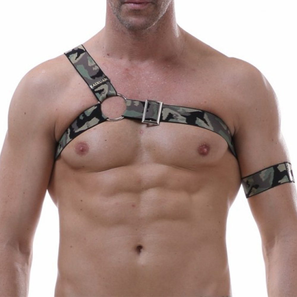 Mens Shoulder Body Chest Harness Bondage Costume Belt Sexy Erotic Lingerie Adults Performance Or Arm Band Adjustable Camouflage