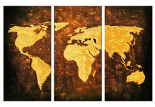 3 Pieces Picture Painting Wall Art Room Decor Print Poster Yellow map Wall Pictures for Living Room Canvas Painting цена