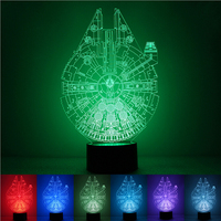 3D illusion Led Night Light 7colors Star Wars Lamp Table Novelty Products Christmas Lights with Push Button Children Night Light