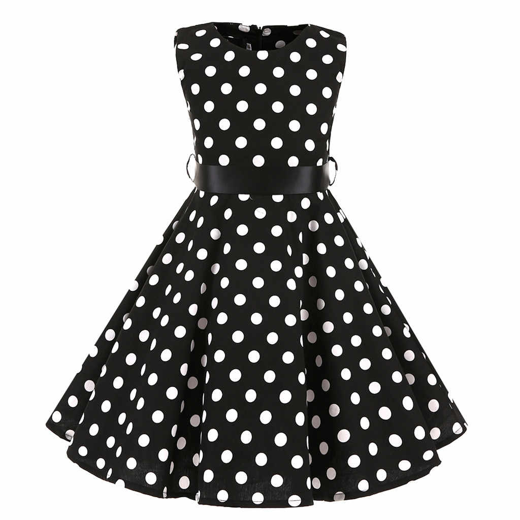 Mùa hè Mới Thời Trang Trẻ Em Teen Trẻ Em Gái Vintage 1950 Phong Cách Retro Áo Chấm Bi In Hình Tất Nơ Bán Buôn Hàng Miễn Phí z4