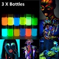 3pcs 25g Glowing Face Body Paint Glow In The Dark 12 Colors Lumious UV Acrylic Paints for Party & Halloween Body Makeup