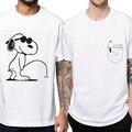 2017 hombres Camiseta de anime El big bang teorías snoopie La perro perro Camisetas de Algodón de Manga Corta camiseta Tops t camisa