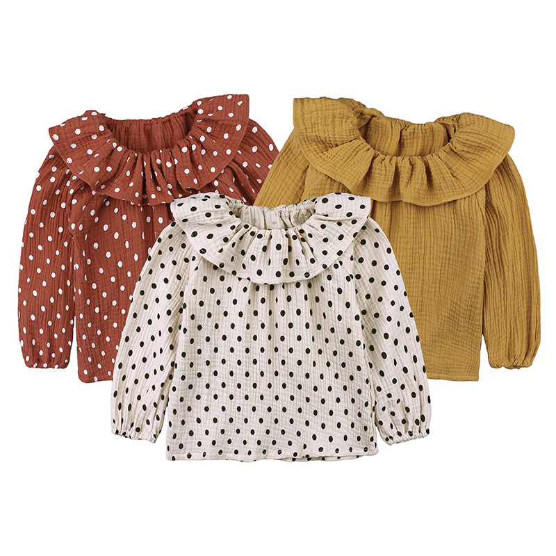 Toddler Shirts Ruffle-Sleeves Autumn Baby-Girl Cotton O-Neck Solid Top Dot