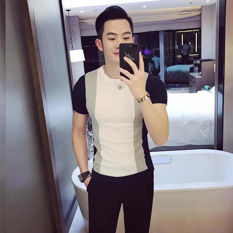 Summer men 39 s short sleeve T shirt Korean version of the men hit the color tight knit T shirt British trend of young people half in T Shirts from Men 39 s Clothing