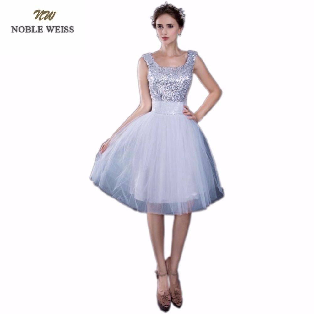 NOBLE WEISS Sexy Luxury Silver Sequin   Prom     Dress   Knee-Length Evening   Dress   Gown Party Celebrity Floor length Formal   Dresses