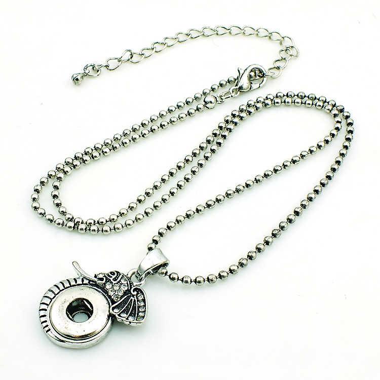 Moda 12mm ginger snap bottoni intercambiabili retro strass elephant dichiarazione pendenti con gemme e perle collane per i gioielli uomini
