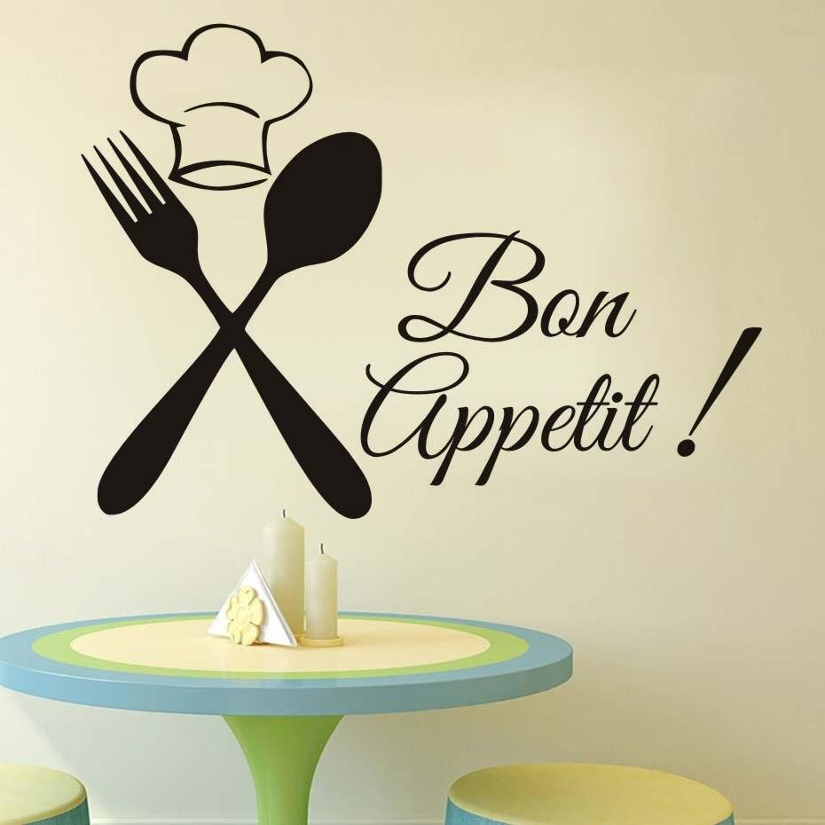 Cuisine couverts Chef Bon Appetit bricolage Stickers Muraux Cuisine chambres murales affiche vinyle décoration Maison Stikers décor noir décalcomanie