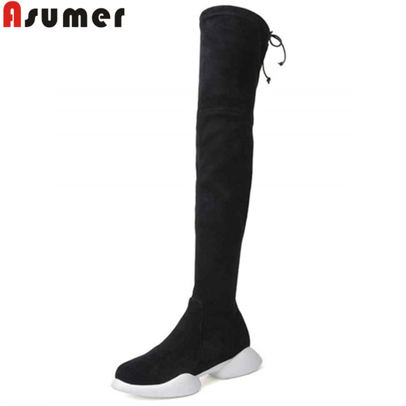 ASUMER black fashion over the knee boots round toe flat with autumn boots women elegant prom long boots ladies shoes 2018 new ASUMER black fashion over the knee boots round toe flat with autumn boots women elegant prom long boots ladies shoes 2018 new