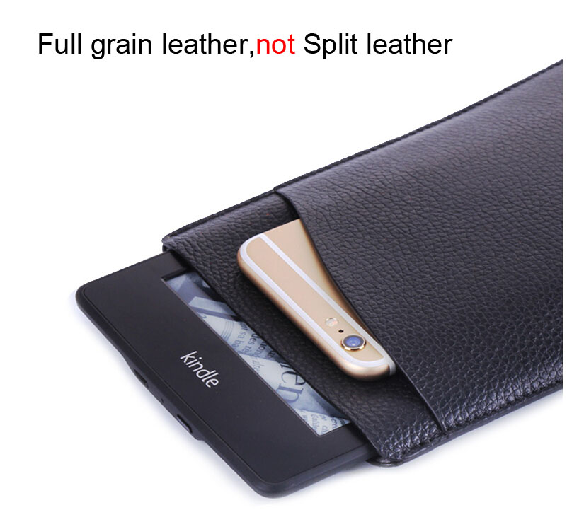 W416 Genuine Full Grain Leather Tablet Sleeves e-book Covers Cases Cor Kindle Paperwhite 2 3 Voyage solid sleeve pouch bag for amazon kindle paperwhite kindle voyage new kindle 6 inch cases shockproof e book sleeve cases