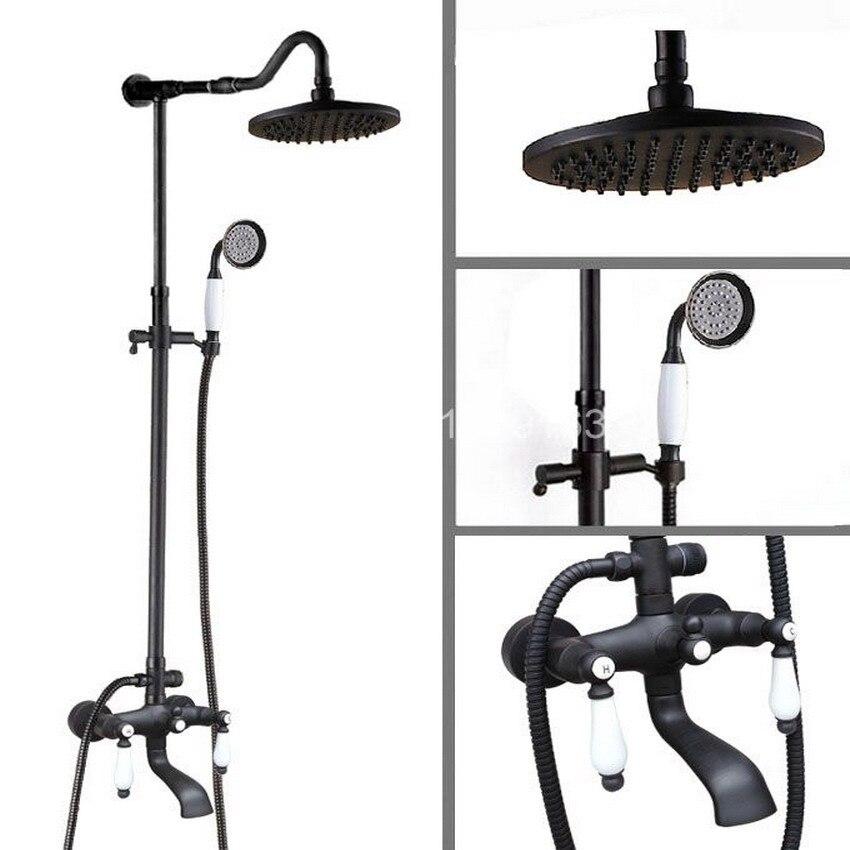 Black Oil Rubbed Brass Two Ceramic Lever Bathroom Rain Shower Faucet Set Bathtub Mixer Tap ahg646