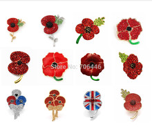 Royal British Museum Wallpaper Bros Merah Kristal Poppy Bunga Bros Pin Ingatan Hari Hadiah(China)