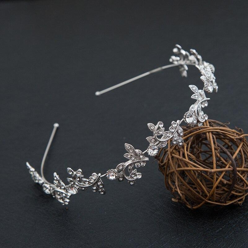 Высокого класса люкс Сияющий кристалл голову обруч текстуры металла оставляет волос ювелирные изделия Корея Новый Свадебные
