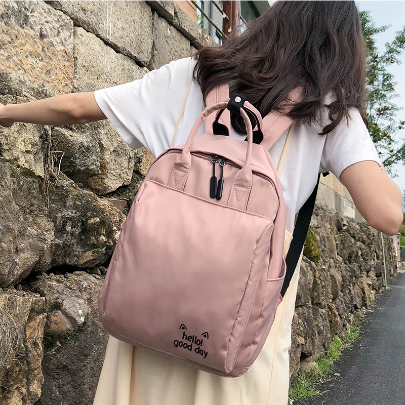 Vintage Harajuku Backpack Multifunctional Shoulder Bag College Student School Bagpack For Teenage Girls Yellow Pink Travel Bag image