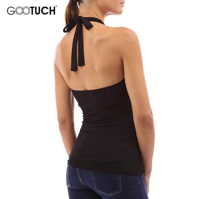 690a6b404c Online Shop Summer Womens Sexy Deep V Neck Halter Top Sleeveless Shirt  Backless Vest Bodycon Beachwear Tops Women s Cotton Tank Tops 7283