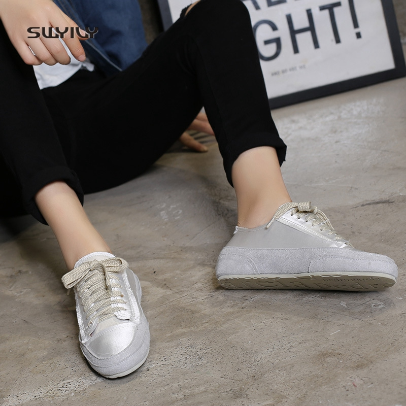 SWYIVY Women s Sneakers Silk Material Brand Design 2018 Spring Female  Casual Canvas Shoes Comfortable Dirty Old Sneakers Woman -in Women s  Vulcanize Shoes ... 8d63f5bad93c