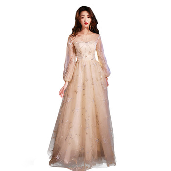 Full Length Champagne Asian Long Dress Vestidos Chinos Oriental Qipao Evening Gowns Classic Party Dress Oversize S-XXXL