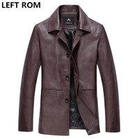 GAUCHE ROM mâle de haute qualité pure color slim Fit Casual veste en cuir/hommes revers Grande taille en cuir/hommes en cuir décontractée manteau XXXL