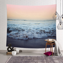Leisure Bedroom Decorating Nordic Beach Wave Printed Wall Hanging Tree Natural Scenery Tapestry Living Room Decor wall hanging art decor window beach wave print tapestry