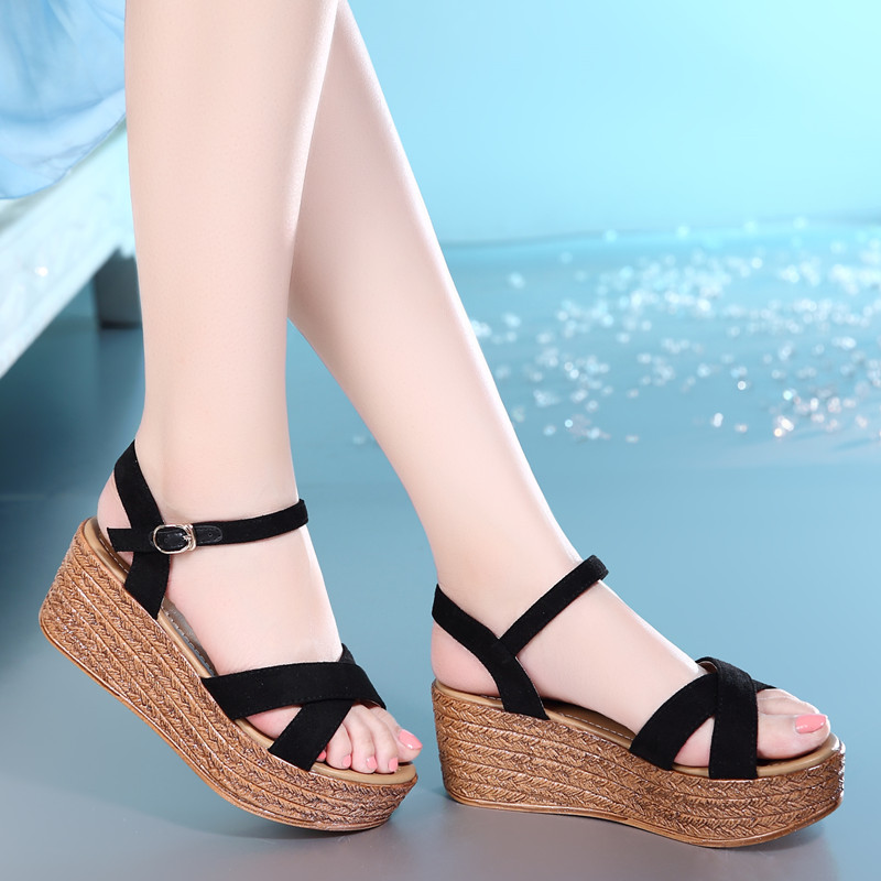 6cm Wedges Sandals Women Summer High Heel Platform Cross Strap Ladies Sandals