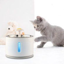 2.4L Автоматическая кошка миска для собак домашних животных дозатор питьевой воды электрический Нержавеющаясталь поилка для животных с фонтаном с светодиодный смеситель пить воду фильтр