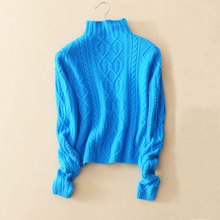 Lady's long sleeve turtleneck pullovers close-fitting solid color 100% cashmere thick soft warm keeping sweater