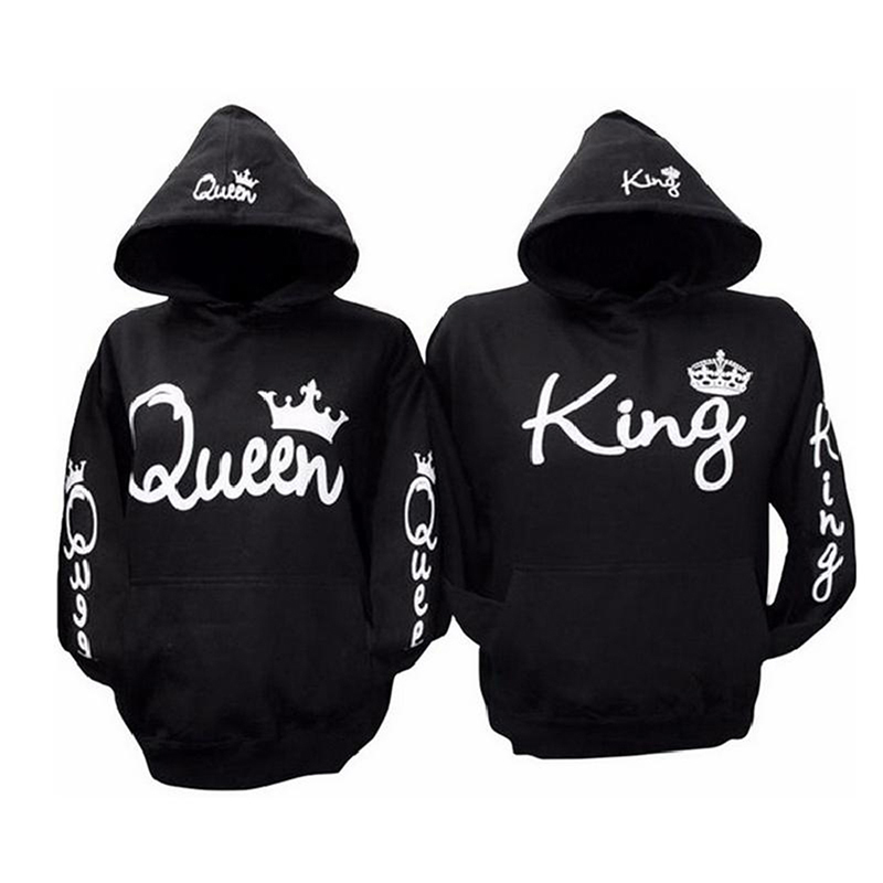 King Queen Women Men Black Hoodies Letter Sweatshirt New Fashion Lovers Couples Hooded Pullovers Tracksuits Plus Zize