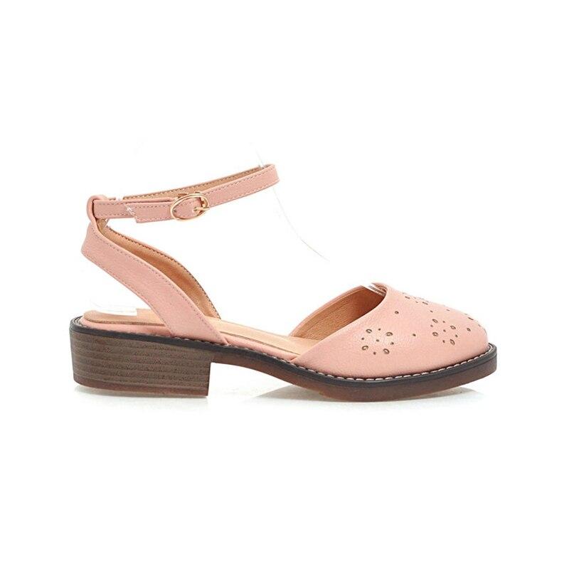 KARINLUNA nueva mujer tobillo correa sólido cuadrado med tacones - Zapatos de mujer - foto 4