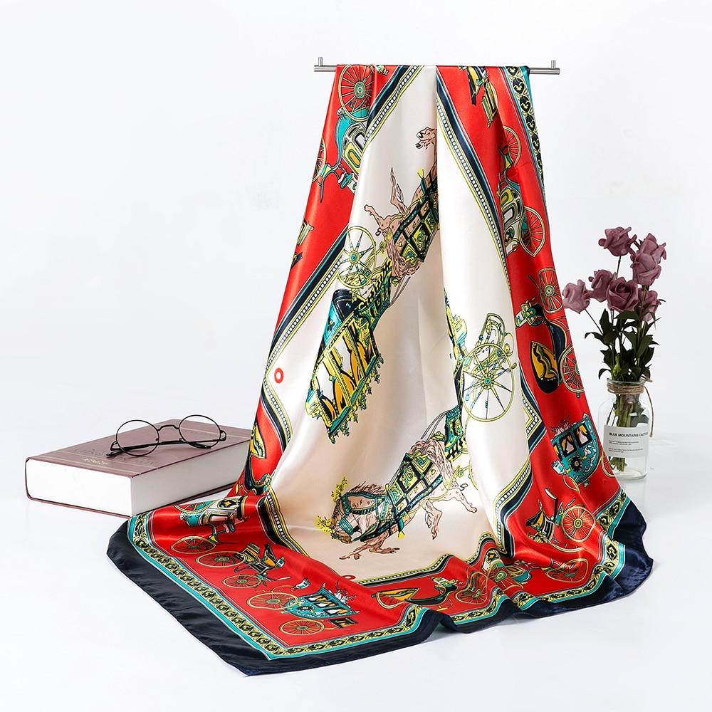 Square Silk Scarf For Women Women's Scarves Wraps Headscarf Luxury Designer Shawls 90*90cm Bandana Large Muslim Hijab AA10135