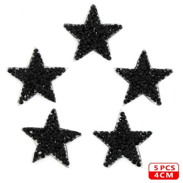 Стразы со звездами, смешанные размеры, нашивки, нашивки с вышивкой, термо-Стикеры для одежды, 5 видов цветов, блестки, нашивки для одежды, сделай сам - Цвет: 4cm Black 5pcs