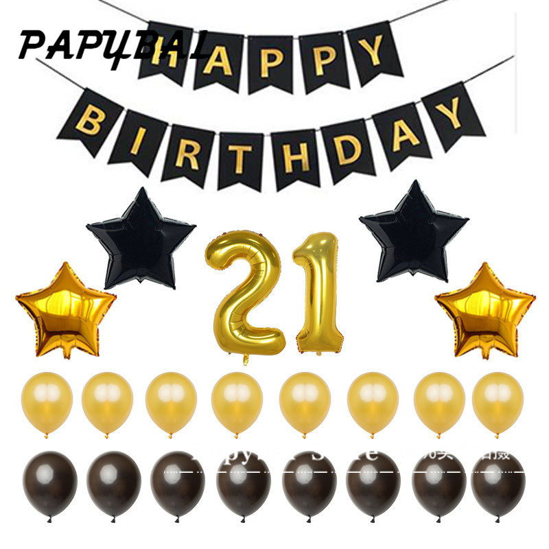 1set Happy Birthday Banner40inch 30th Gold Number Balloons Gold and Black Number 30 Perfect 30 18 21 50 Years Old Party Supplies