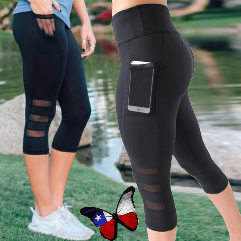 YCDYZ Calf length Sport Pants Phone Pocket leggings Women