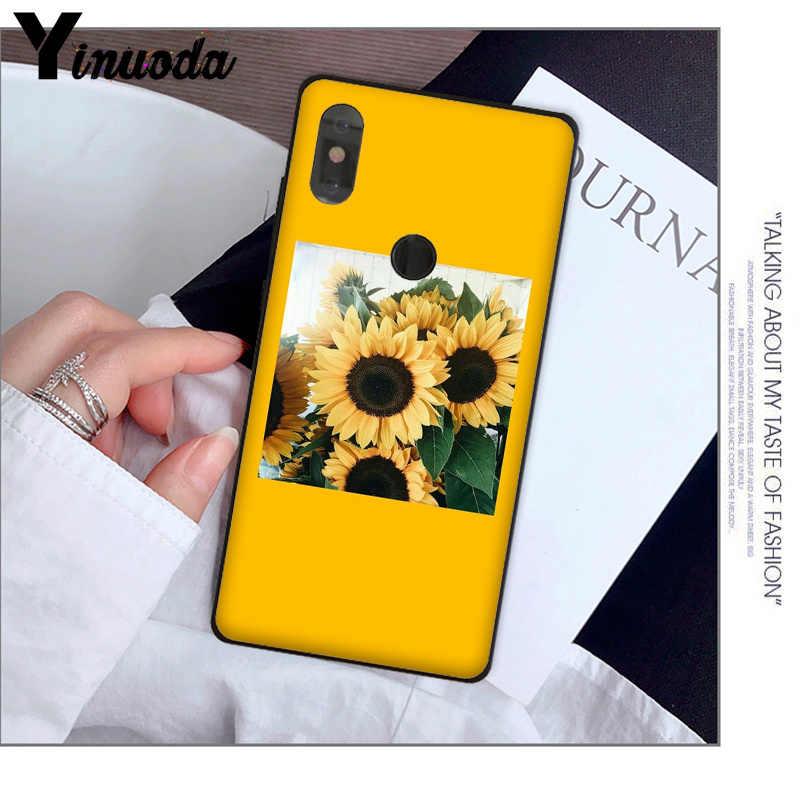 Yinuoda צהוב פרח קטן דייזי חמניות שחור טלפון מקרה עבור אדום mi 5 בתוספת הערה 5 Xuiao mi mi 8 8SE 6 mi X 2 2 S נייד מקרי