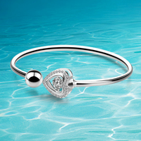 Luxurious 925 Sterling Silver Heart Bracelets & Bangles for Women AAA Cubic Zircon Fine Silver High Quality Lady Charm Bangles