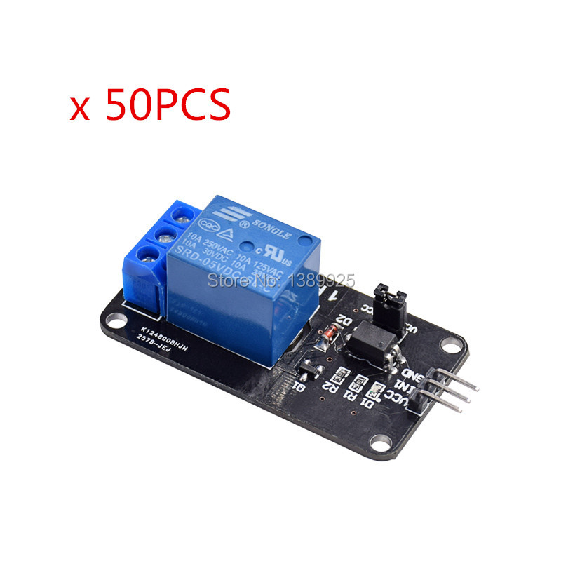 Free shipping 50pcs/lot 5V 1 Channel Relay Module Shield AVR ARM PIC DSP SRD-05VDC-SL-C
