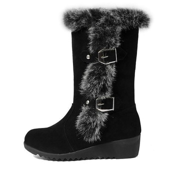 2015 winter women warm thermal knee-high slip-resistant waterproof snow boots genuine leather rabbit fur boots wedges