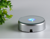 70mm Silver Round LED Plastic Light Base Stand For Jewelry Watch Gifts 2d 3d Laser Crystal