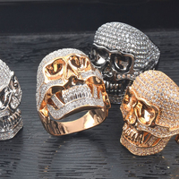 Personality Exaggerated Skull Shape Ring Classic Party Ball Decoration Jewelry Rhinestone Inlaid Decoration Novel Style Ring