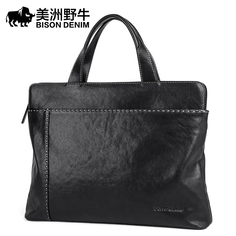 BISON DENIM Handbag Men Shoulder Bags Genuine Leather Briefcase Cowhide Messenger Bag Mens Business Travel Laptop BagBISON DENIM Handbag Men Shoulder Bags Genuine Leather Briefcase Cowhide Messenger Bag Mens Business Travel Laptop Bag