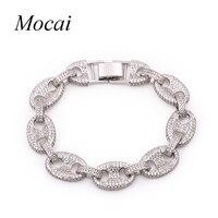 Exquisite Rock Punk Big Bracelets Bangles Chunky Silver Color Hand Chain Full Zircon Women Trendy