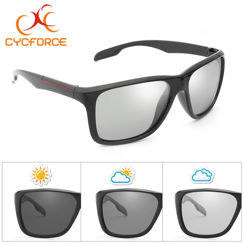 CYCFORCE Photochromic Polarized Cycling Eyewear Outdoor Sports Bicycle Sunglasses Men Women Goggles Driving Sun Glasses UV400 fashion rectangle frame gun metal leg outdoor driving sunglasses for men