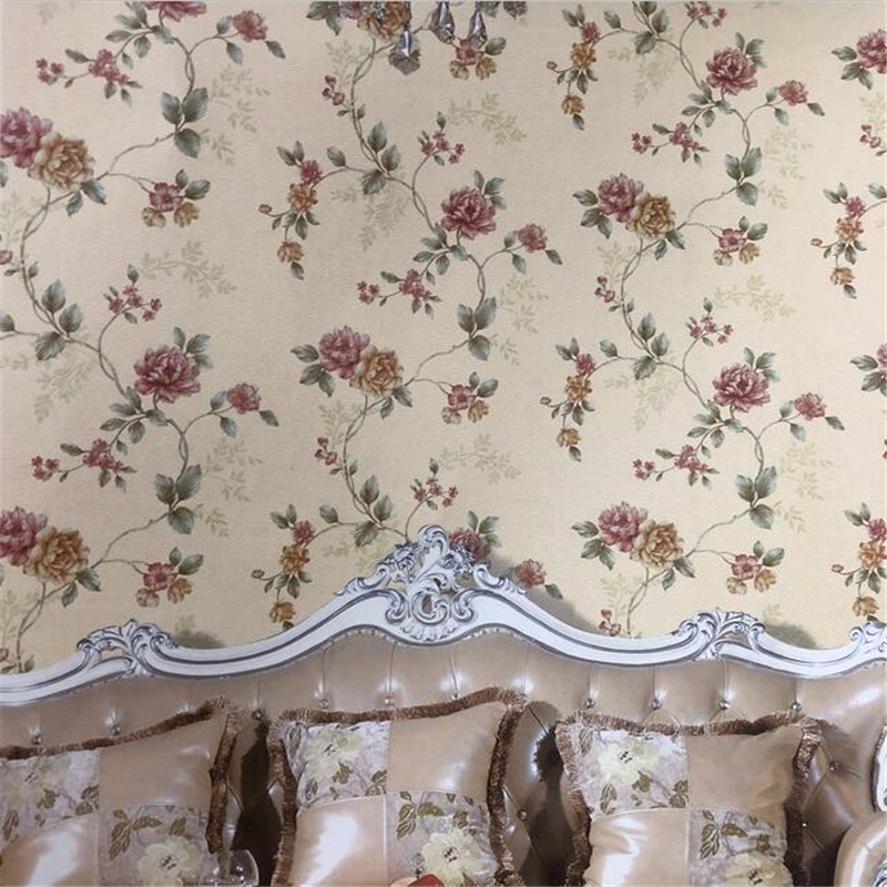 beibehang New American country 3d wallpaper vintage garden flowers bedroom living room TV background wall paper papel de parede