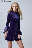 Designer fashion 2017 women autumn winter blue ruffled flare sleeve short sexy bodycon party work velvet dress 8343
