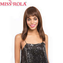 Fräulein Rola Haar-brasilianisches Haar # 4 gerade 10 Zoll-Kurzschluss-100% Menschenhaar-Perücken-komplette Manchine-freies Verschiffen Nicht-Remy