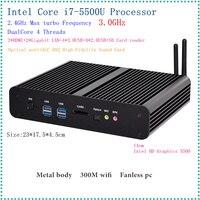 Intel 5th Gen. i7 5500U/5600U CPU Fanless Mini PC i7 Broadwell HTPC Blu ray Micro PC Small Size htpc Graphics HD5500 Computer