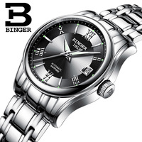 BINGER Switzerland Ladies Automatic Self Wind Watches Dress Watch Women Watches Stainless Steel Silver Mechanical Clock Women