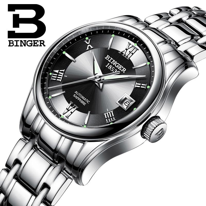 BINGER Schweiz Damen Automatische Selbst Wind Uhren Kleid Uhr Frauen Uhren Edelstahl Silber Mechanische Uhr Frauen-in Damenuhren aus Uhren bei  Gruppe 1